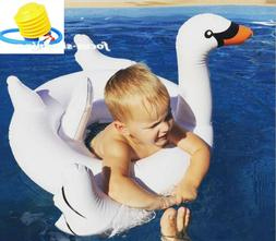75'' Inflatable Leisure Giant Swan Float Rideable Raft Swimm