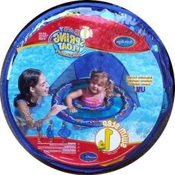 Baby Spring Float with Sun Canopy Swim Ways Blue with Starfi