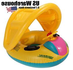 Adjustable Sunshade Baby Swim Float Seat Boat Inflatable Rin