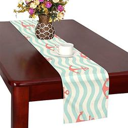 WHIOFE Anchors Waves Table Runner, Kitchen Dining Table Runn