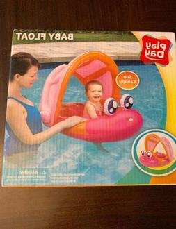 Play Day Baby Fish Float Inflatable Pink w Canopy Sun Protec