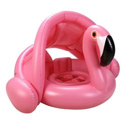 Baby Inflatable Pool Float with Adjustable Sun Canopy Free S