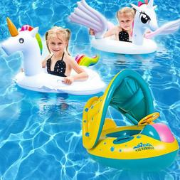 Baby Kids Pool Float with Canopy Inflatable Swimming Ring Sw
