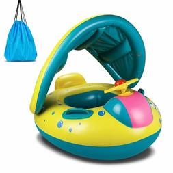 Topist Baby Pool Float, Baby Inflatable Swimming Ring With A