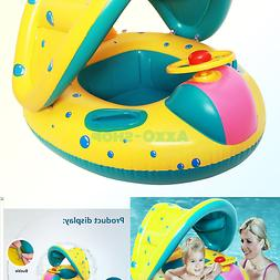 StillCool Baby Pool Float Infant Swimming Ring with Canopy S