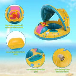 Baby Pool Float Inflatable Swimming Ring with Sun Shade Cano