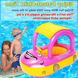 Baby Pool Float with Canopy, Car Shaped Inflatable Swim Floa