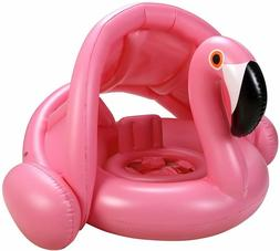 iefoah Baby Pool Float with Canopy,Flamingo Inflatable Swimm
