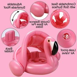Baby Pool Float with Canopy,Flamingo Inflatable Swimming Rin