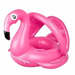 Baby Pool Float with Canopy - Flamingo Inflatable Swimming P