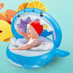 Baby Pool Float with Canopy,Inflatable Swimming Shark Floati