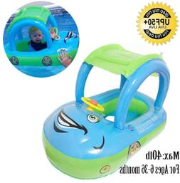 Qiao Niuniu Baby Pool Float with Canopy Summer Steering Whee