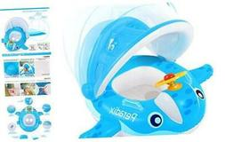 Baby Pool Float with Canopy Sunshade, Whale Infants Water To