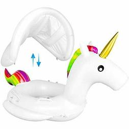 Baby Pool Float With Canopy - Unicorn Inflatable Swimming Fl