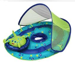 SwimWays Baby Spring Float Activity Center w/ Canopy Blue/Gr