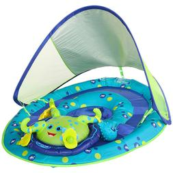 SwimWays Baby Spring Float Activity Center with Canopy Blue/