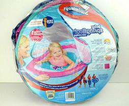 SWIMWAYS BABY SPRING FLOAT WITH CANOPY 9-24 MONTHS PINK TURQ