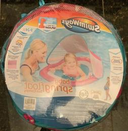 SwimWays Baby Spring Float with Sun Canopy Pink/Blue Fish 9-