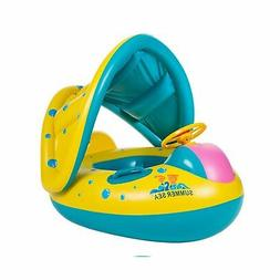 TOAOB Baby Swimming Pool Float with Canopy Inflatable Infant