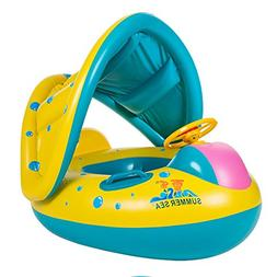 TOAOB Baby Swimming Pool Floats Boat with Inflatable Sunshad