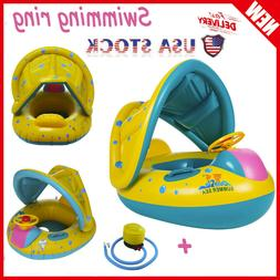 Baby Swimming Ring, Inflatable Float Sunshade Swimming Boat