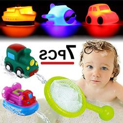 Bath Toy, Light up&Spray Water Rubber Floating Set With Fish