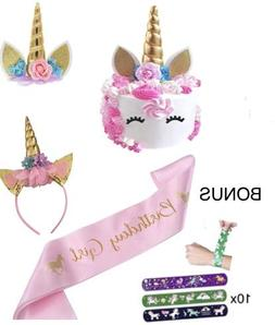 Unicorn Cake Topper set - 17 pc Includes Cake Decorations, G