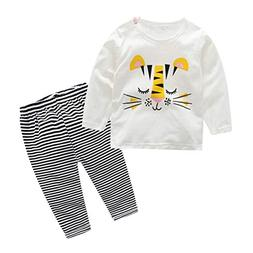 Discount 2Pcs Toddler Baby Boys Long Sleeves Cartoon Print T