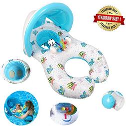 Dual Person Kids Baby and Mommy Inflatable Swim Boat Float R
