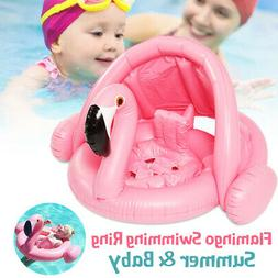 Flamingo Swimming Ring Inflatable Baby Float Sunshade Boat S