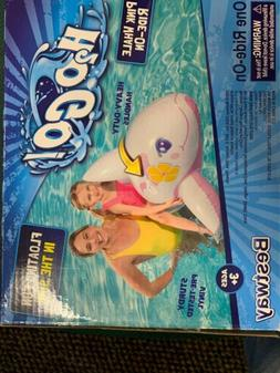 H2OGO Child's Pink Whale Dolphin Pool Ride-On Float Raft Gir