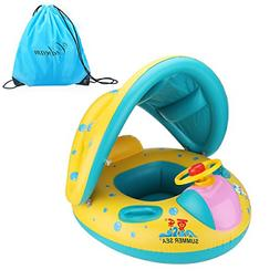 Inflatable Baby Pool Float Swimming Ring with Sun Canopy for