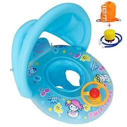 TOAOB Inflatable Baby Pool Float Swimming Ring with Sun Cano