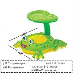 Baby Inflatable Pool Float with Canopy Frog Seat Boat Infant