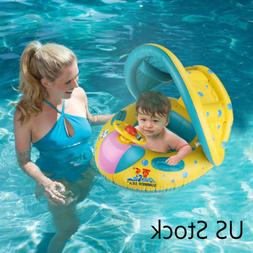 Inflatable Sunshade Swimming Pool Ring Float Boat Seat Baby