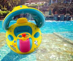 Inflatable Swim Pool Ring Float Sunshade Boat Water Seat Bab