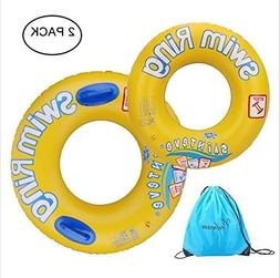2 Pack Inflatable Swim Rings Pool Float for Children and Adu