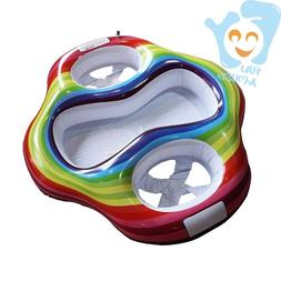 Inflatable Twin Baby Pool Floats Seat Double Todder Rainbow
