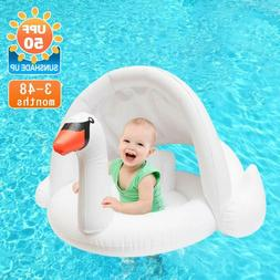 Jie-Channel Baby Pool Float Toddlers Swimming Swan Float Wit