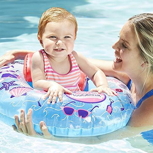 SwimSchool Boat Adjustable Seat, Inflatable 6 Blue/Pink