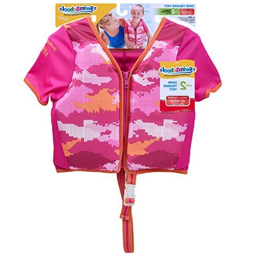SwimSchool with Sun Adjustable Safety Strap, Up to Pink