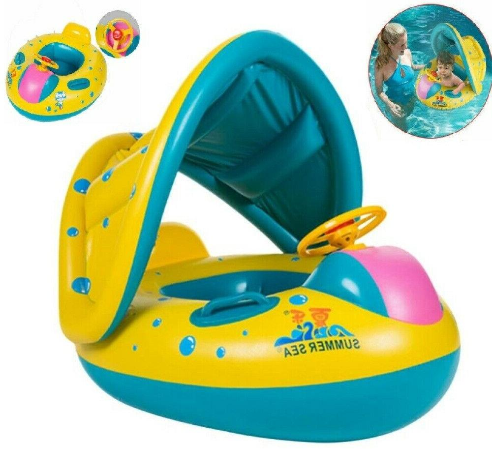 adjustable inflatable sunshade baby kid float seat