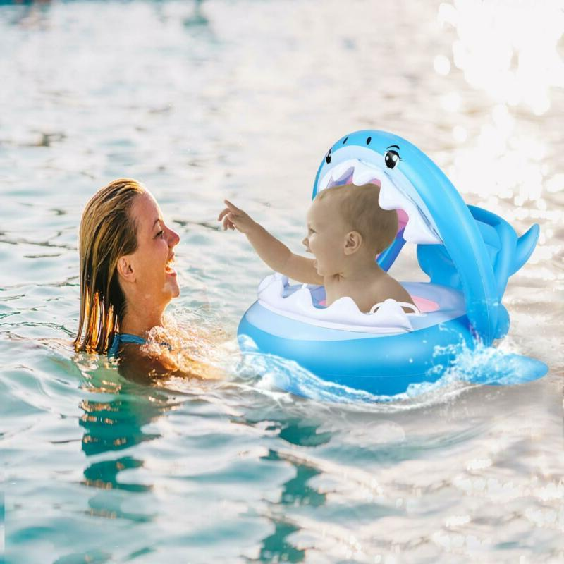 Baby Swimming Toddler Floaties Inflatable Canopy Shark Infant