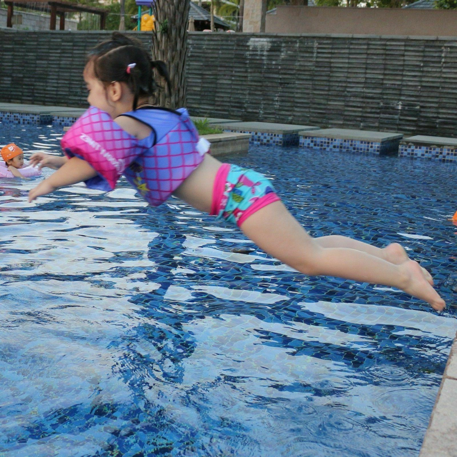 Child Floats Pool Life for Train