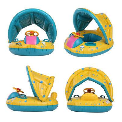 Baby Pool Inflatable Swimming Ring Shade Canopy Seat I2L7