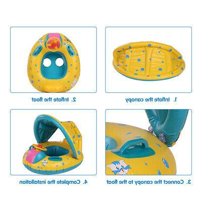 Baby Pool Float Swimming Ring with Sun Shade Canopy Safety I2L7