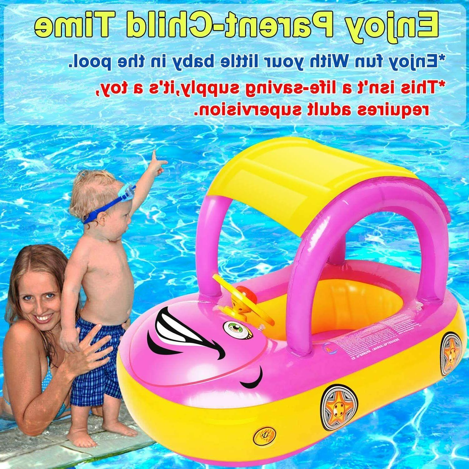 baby pool float with canopy car shaped