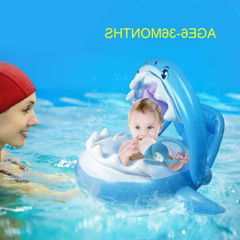 Baby Pool Float Canopy,Inflatable Swimming Shark Floaties for Infant