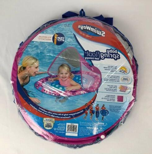 baby spring float sun canopy pool water