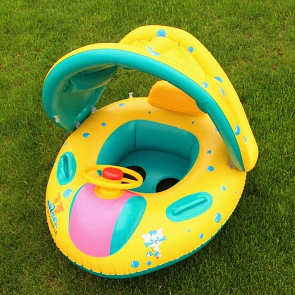 Baby Pool Floats Boat with Inflatable Sunshade Canopy for Kids 6-36 Mon